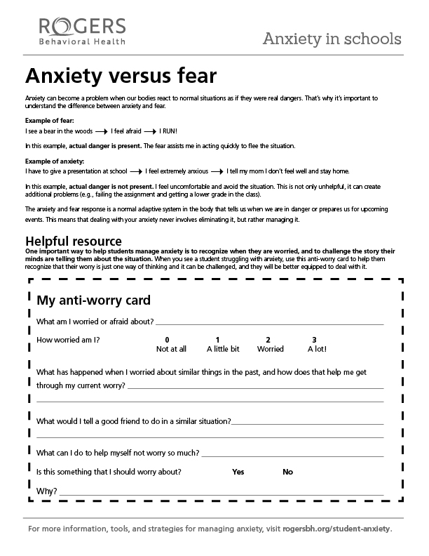 Printable resource: Anxiety vs. fear