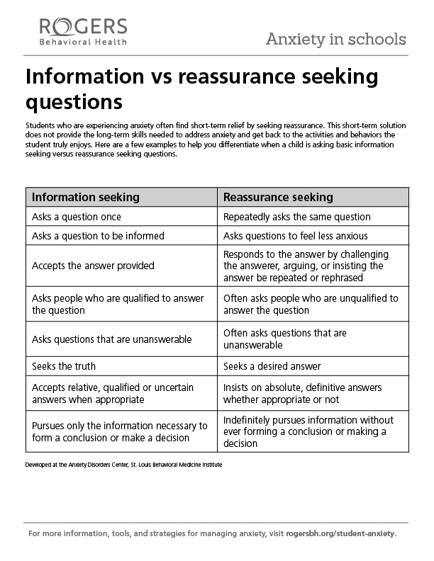 Printable resource: Information vs. reassurance seeking questions