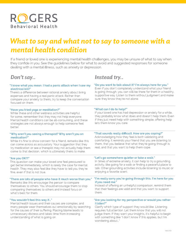 What to say and what not to say to someone with a mental health condition