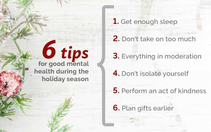 6 tips for good mental health during the holidays