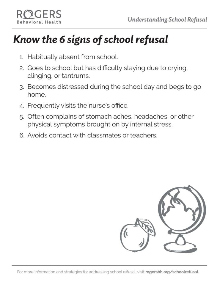 Six signs of school refusal