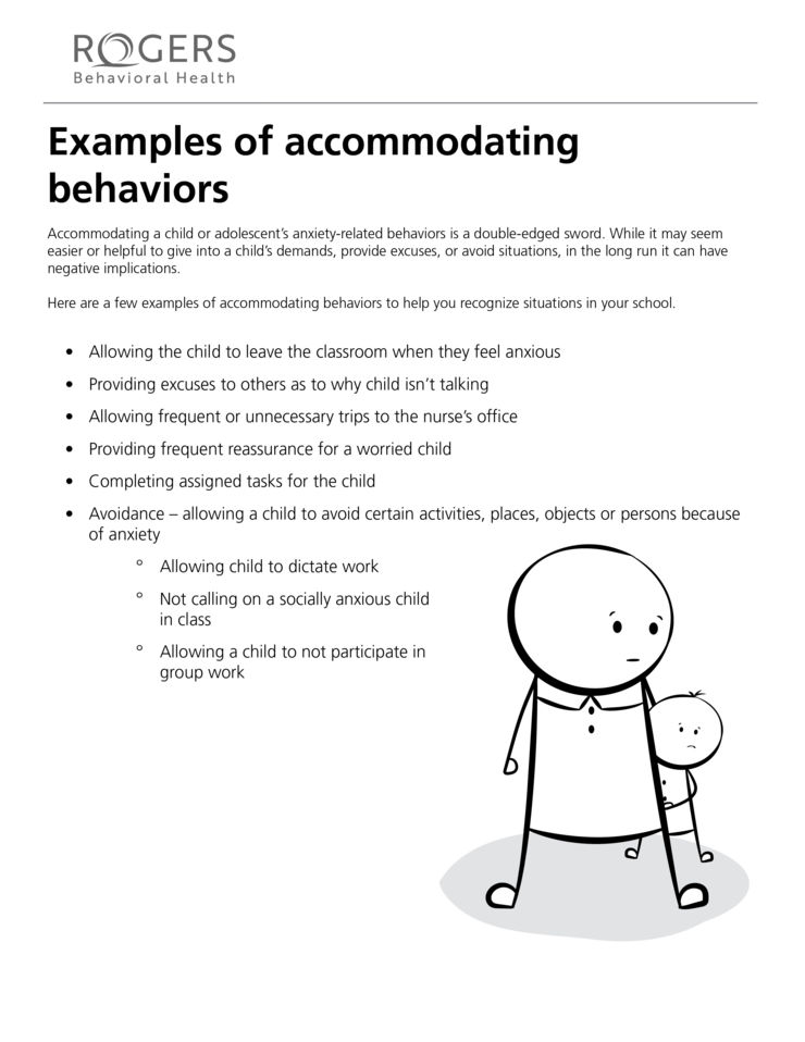 Examples of accommodating behaviors