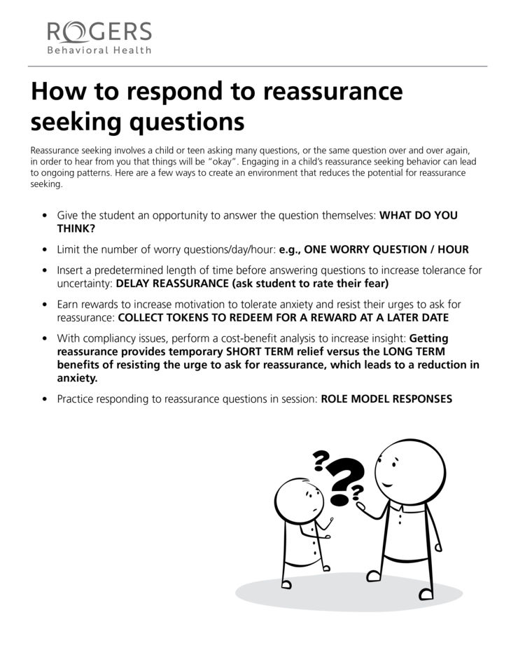 How to respond to reassurance seeking questions